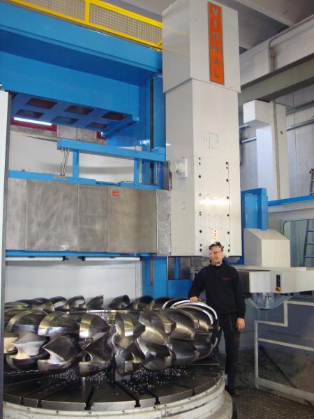 Pelton turbine during processing